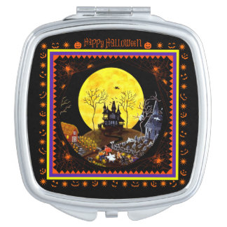 Halloween trick or treat compact mirror