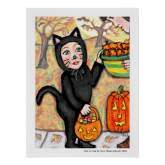 Halloween Trick or Treat Costume Cat Art Poster