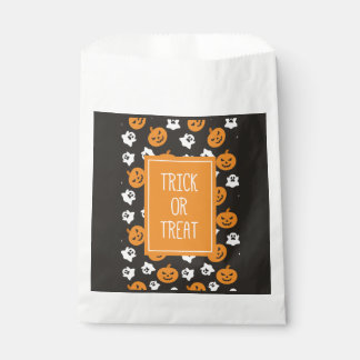 Halloween Trick or Treat Cute Ghosts & Pumpkins Favor Bag