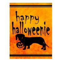 Halloween Trick or Treat Dachshund Postcard