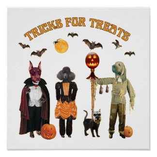 Halloween Trick or Treat Dogs Poster