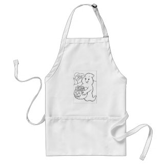 Halloween Trick or Treat Ghost Adult Apron