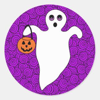 Halloween Trick-or-Treat Ghost Classic Round Sticker