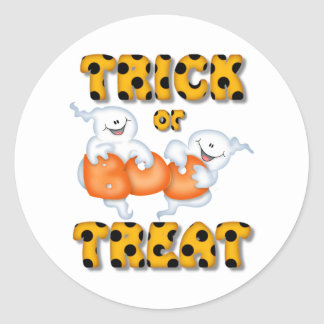 Halloween Trick Or Treat Ghost Classic Round Sticker