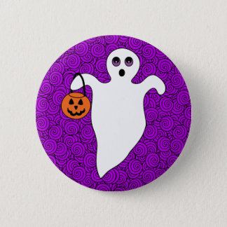Halloween Trick-or-Treat Ghost Pinback Button