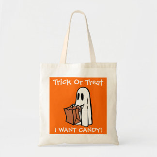 Halloween Trick Or Treat I Want Candy Ghost Budget Tote Bag