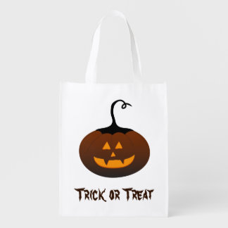 Halloween Trick or Treat Jack O Lantern Pumpkin Reusable Grocery Bag