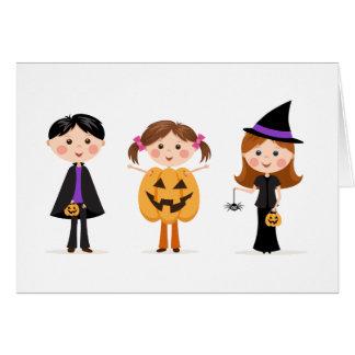 Halloween trick or treat kids greeting card