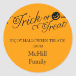 Halloween Trick or Treat Label Classic Round Sticker