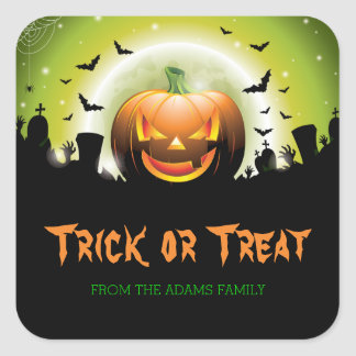 Halloween Trick or Treat Labels Scary Pumpkin