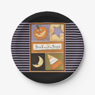 Halloween trick-or-treat party 7 inch paper plate