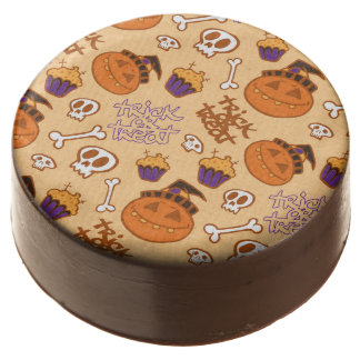 Halloween Trick-or-Treat Pattern Chocolate Dipped Oreo