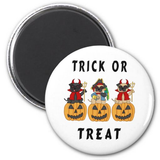 Halloween Trick or Treat Pug Dogs 2 Inch Round Magnet