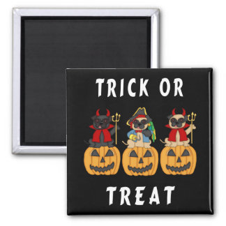 Halloween Trick or Treat Pug Dogs 2 Inch Square Magnet
