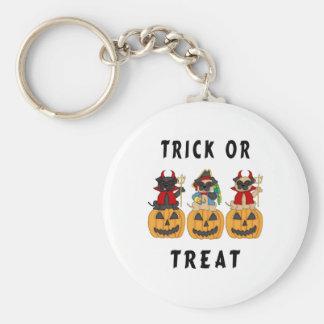 Halloween Trick or Treat Pug Dogs Basic Round Button Keychain