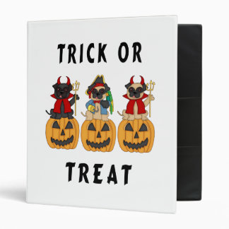 Halloween Trick or Treat Pug Dogs Binder