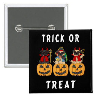 Halloween Trick or Treat Pug Dogs Buttons
