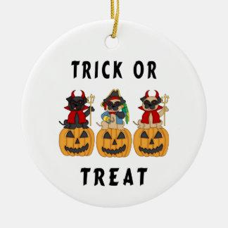 Halloween Trick or Treat Pug Dogs Ceramic Ornament