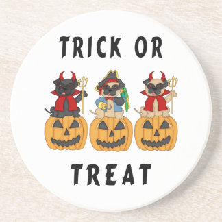 Halloween Trick or Treat Pug Dogs Drink Coasters