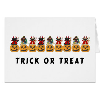 Halloween Trick or Treat Pug Dogs Greeting Card