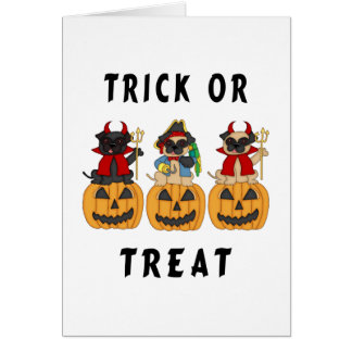 Halloween Trick or Treat Pug Dogs Greeting Cards