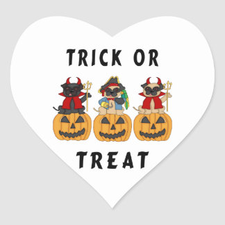 Halloween Trick or Treat Pug Dogs Heart Sticker