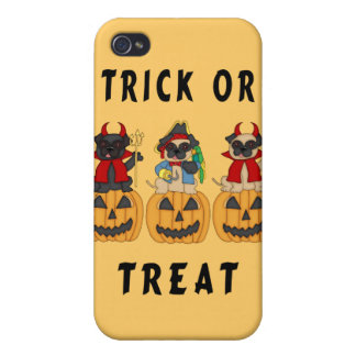 Halloween Trick or Treat Pug Dogs Covers For iPhone 4