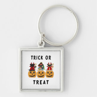 Halloween Trick or Treat Pug Dogs Silver-Colored Square Keychain