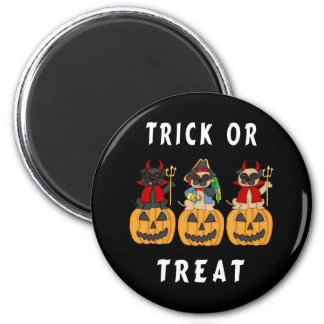 Halloween Trick or Treat Pug Dogs Magnet