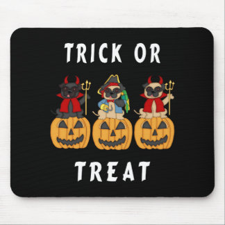 Halloween Trick or Treat Pug Dogs Mouse Pad