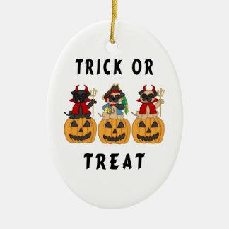 Halloween Trick or Treat Pug Dogs Christmas Ornament