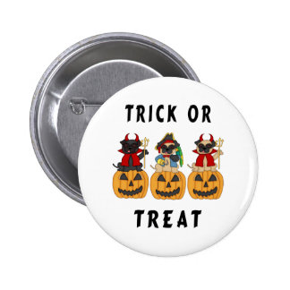 Halloween Trick or Treat Pug Dogs Pinback Button