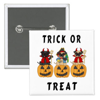 Halloween Trick or Treat Pug Dogs Pins