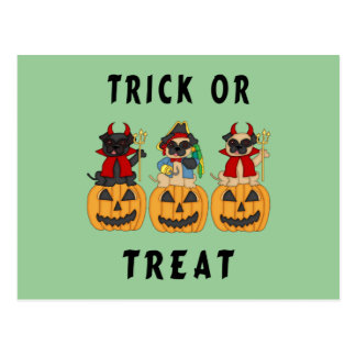 Halloween Trick or Treat Pug Dogs Postcard