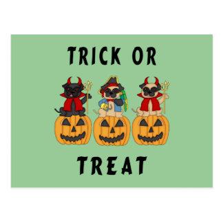 Halloween Trick or Treat Pug Dogs Postcard