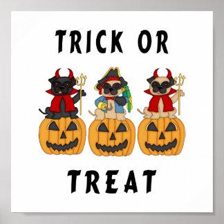 Halloween Trick or Treat Pug Dogs Print