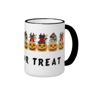Halloween Trick or Treat Pug Dogs Ringer Mug