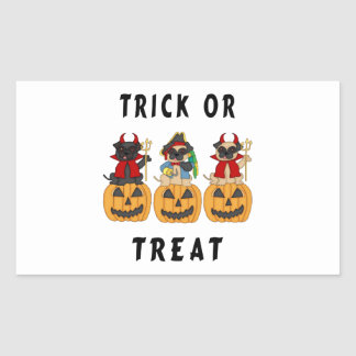 Halloween Trick or Treat Pug Dogs Rectangular Sticker