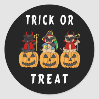 Halloween Trick or Treat Pug Dogs Round Stickers