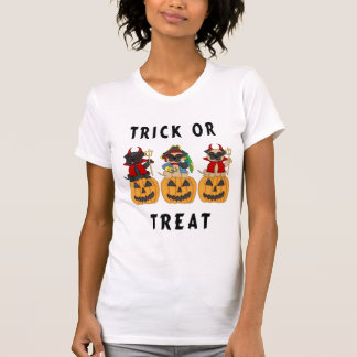 Halloween Trick or Treat Pug Dogs Tee Shirt