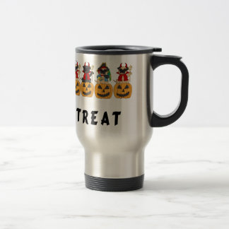 Halloween Trick or Treat Pug Dogs Travel Mug