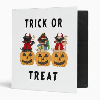 Halloween Trick or Treat Pug Dogs Vinyl Binder