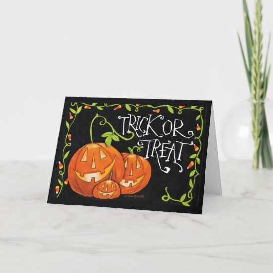 Halloween Trick or Treat Pumpkin and Candy Corn Card