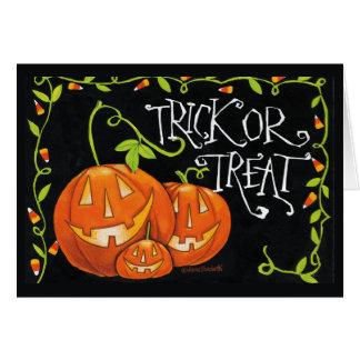 Halloween Trick or Treat Pumpkin and Candy Corn Card