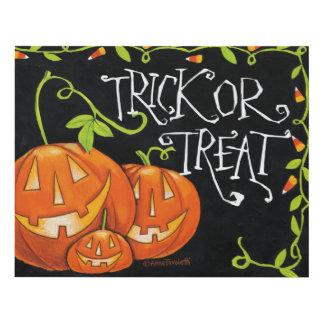 Halloween Trick or Treat Pumpkin and Candy Corn Wood Wall Art
