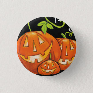 Halloween Trick or Treat Pumpkin and Candy Corn Pinback Button