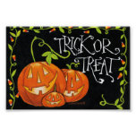 Halloween Trick or Treat Pumpkin and Candy Corn Poster