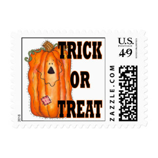 Halloween Trick Or Treat Pumpkin Postage Stamps