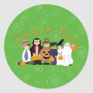 Halloween Trick or Treat Round Stickers