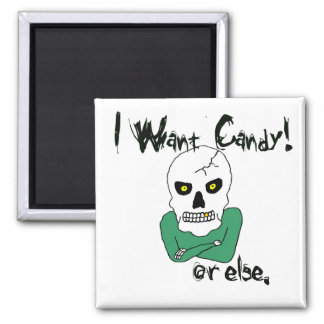 Halloween Trick-or-Treat Skeleton 2 Inch Square Magnet